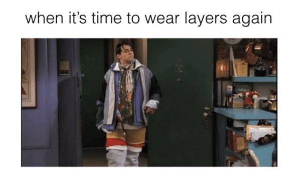 Wearing layers when on the plane