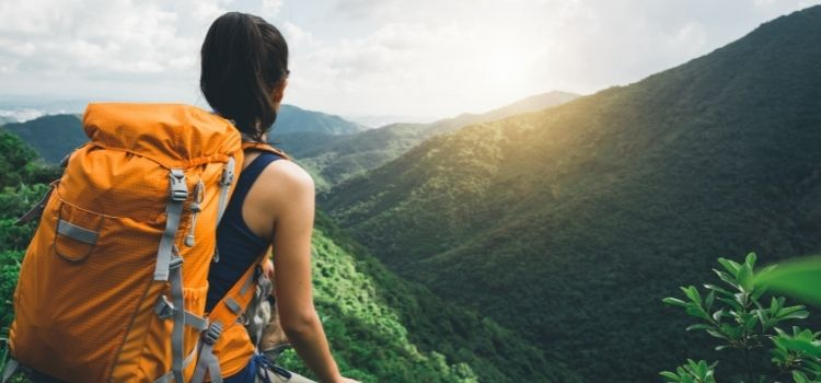 Backpacker with backpack
