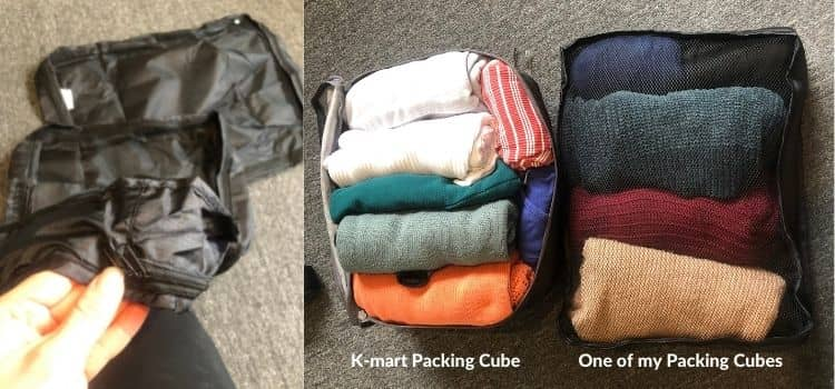 A comparison of K-mart packing cubes to my own